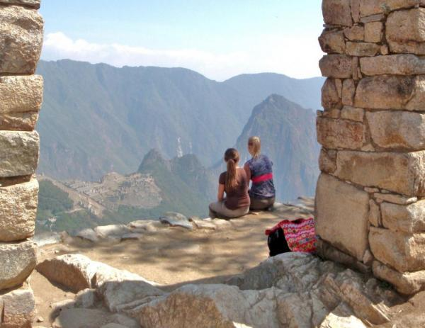 Ashley and I overlooking Machu Picchu from the Sun Gate