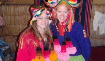 Ashley and I dressed up as Uros Island inhabitants