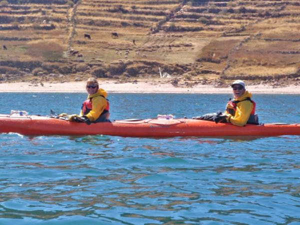 Peggy and Robin kayaking Lake Titicaca