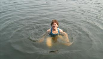 swimming in the lake in Chalalan