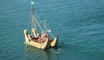 "Navigating Lake Titicaca in a traditional reed ""balsa"" boat"