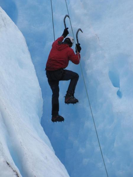 Trying out ice climbing