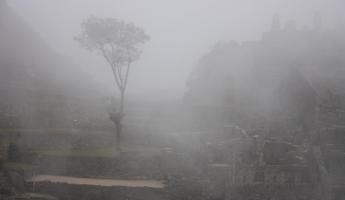First Glimpse of Machu Picchu thru the fog