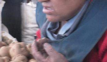 The potato vendor at the market