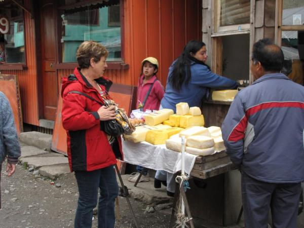 Checking out cheese at the Puerto Montt open Market