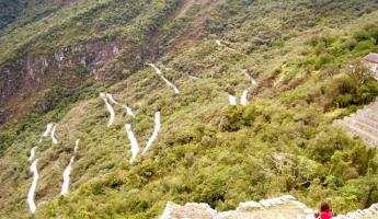 Switchbacks up to Machu Picchu.
