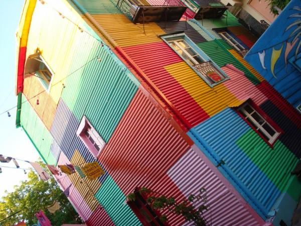 Brightly colored buildings line the streets of Buenos Aires