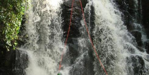 20 metres gushing waterfall