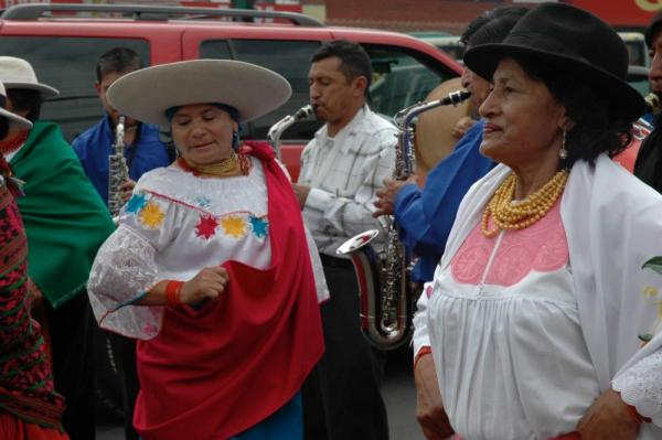 Dancers in a street parade in Quito