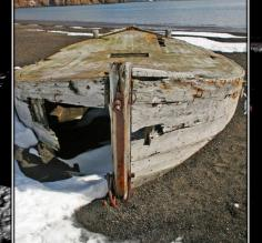 Abandoned oil hauler at Whaler's Bay on Deception Island.