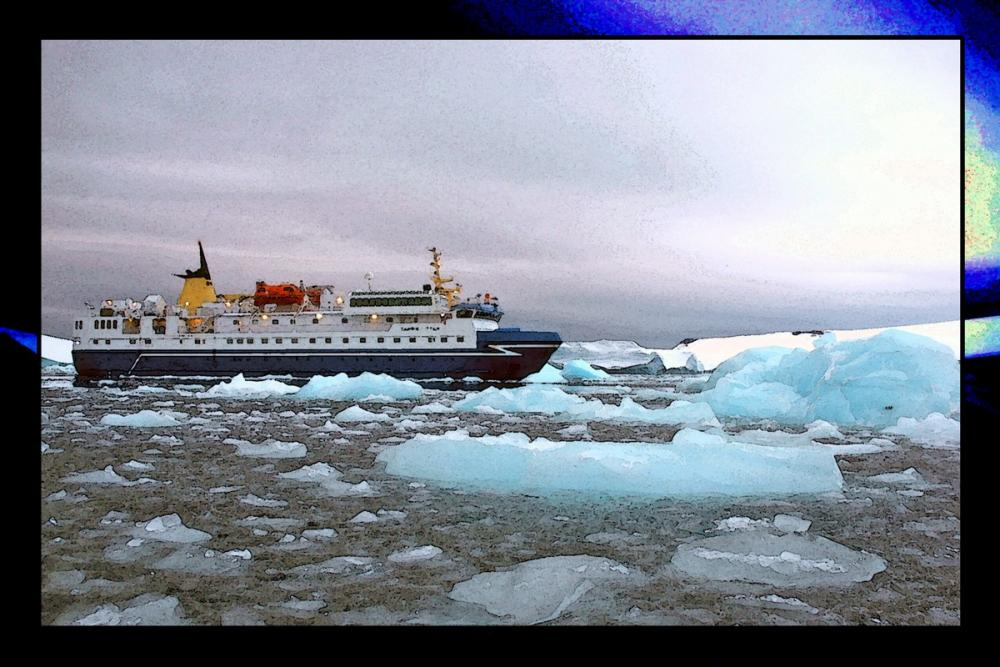The M/V Sarpik Ittuk among the ice floes.
