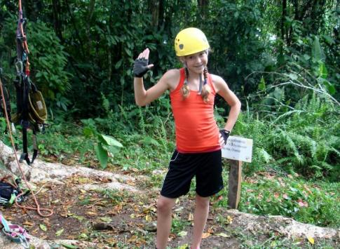 Gabs is ready to do a little tree climbing at Selva Bananito