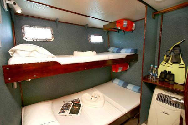 Comfortable cabins accommodate the 16 passengers on the Floreana