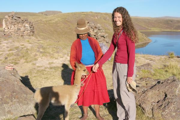 Meeting locals during a tour of Peru