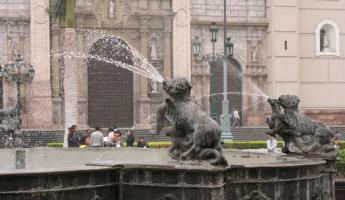 Colonia fountain in Lima during a city tour of Peru