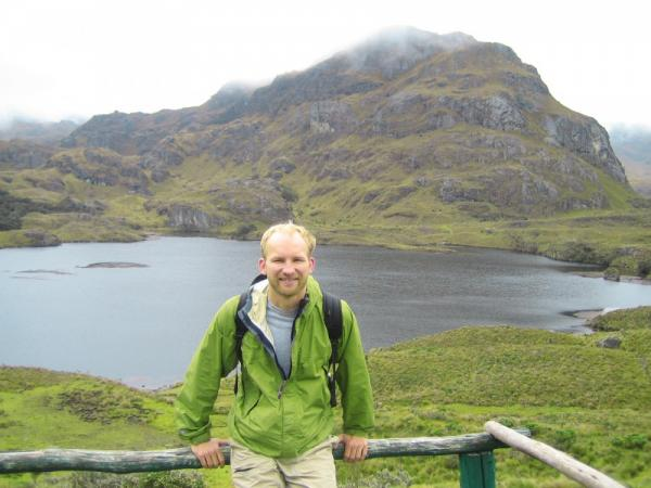 Hiker in Cajas National Park during an Ecuador vacation