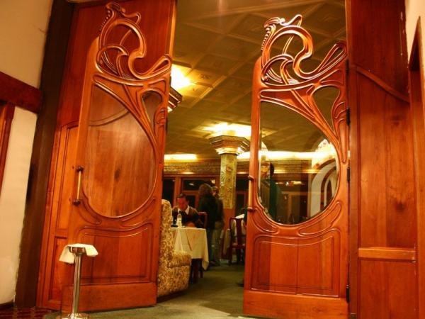 Beautiful woodwork welcomes you to the Hotel Crespo Restaurant