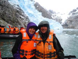 In front of a small glacier. It started snowing five minutes later
