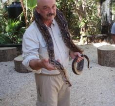 Dave gets a hug at the Belize Zoo