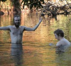 Cooling off in a swimming hole on the Roaring River