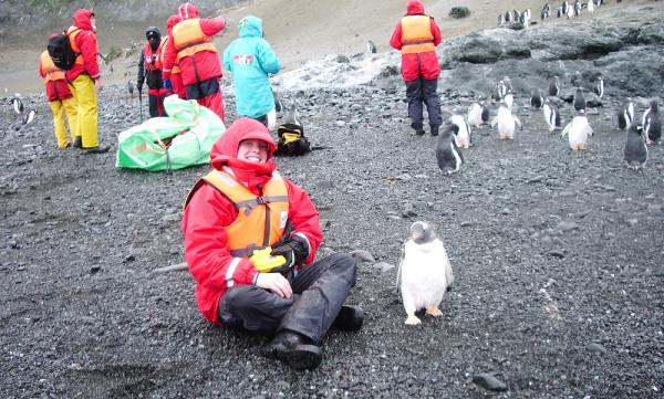 Antarctic tour, travelers with penguins