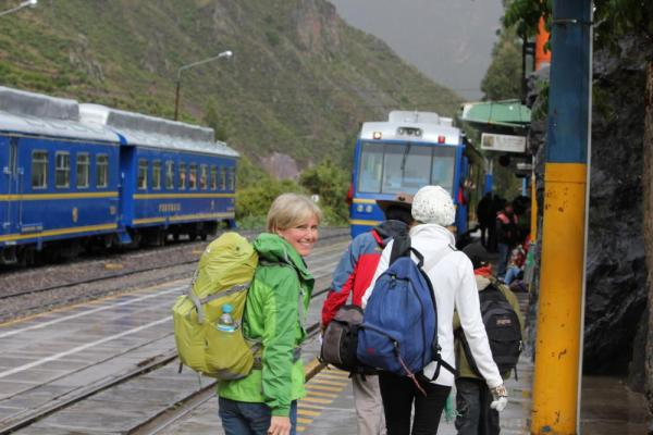 Waiting for the train to Machu Picchu