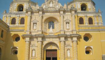 Visiting a colonial cathedral on Antigua tour in Guatemala