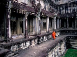 A monk in an Asian Temple Courtyard