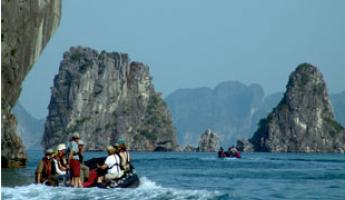 Exploring the rocky Asia coast on a Zodiac tour