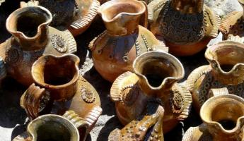 Traditional pottery at a market in Guatemala