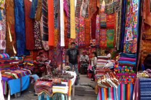 Textiles at a local market in Guatemala