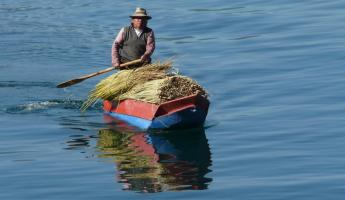 Paddling a cayuco, the traditional Lago Atitlan boat, with a load of reeds for weaving.