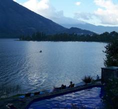 Hotel pool and Lake Atitlan