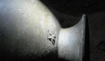 "Detailing on a Maya pot inside the ATM cave - the ""Monkey Pot"""