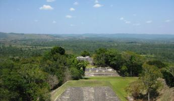 Looking down into Xunantunich from the top of El Castillo