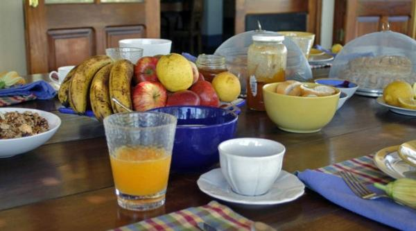 Fresh prepared organic breakfast awaits each morning