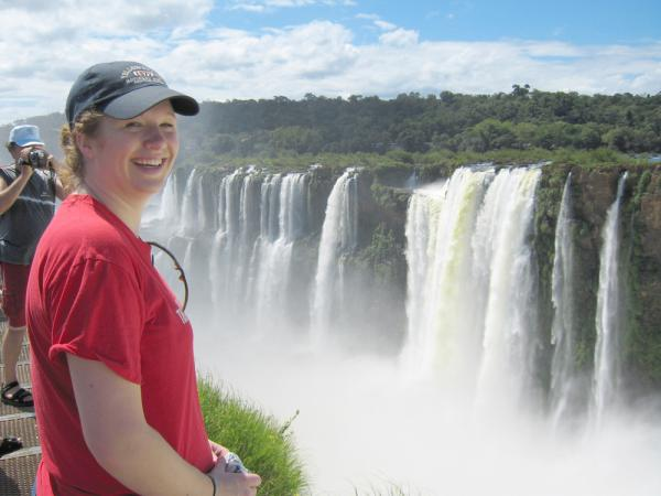 Happy Traveler at Iguazu Falls Devil's Throat Canyon  on Argentina vacation