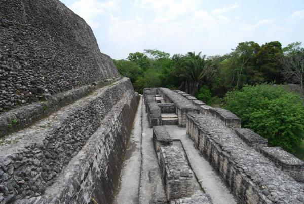 On  our way to the top of Pyramid in Xunantunich
