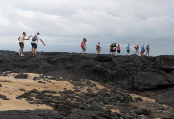 hiking across the lava, Port Egas