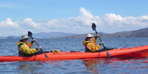 Kayaking to lunch on Lake Titicaca