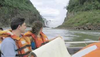 Looking up Devil's Canyon of Iguazu Falls on Argentina trips