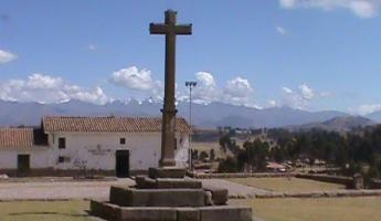 The base of the cross is Inca stones.