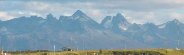 Mountains rising behind Ushuaia on Argentina trip