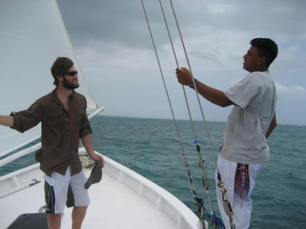 Sailing off the coast of Ambergris Caye