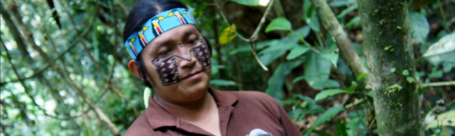 Our guide, Simone, from the Achuar community on an Amazon trip