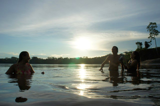Swimming in Pastaza River in Achuar community