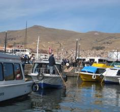 Tourist boats waiting to leave the port
