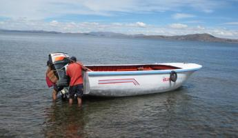Kayaking at Llachon, Lake Titicaca - support boat