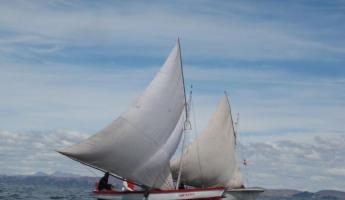 Sail boats on Lake Titicaca