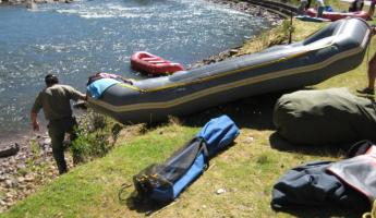 Getting ready to raft the Urubamba River